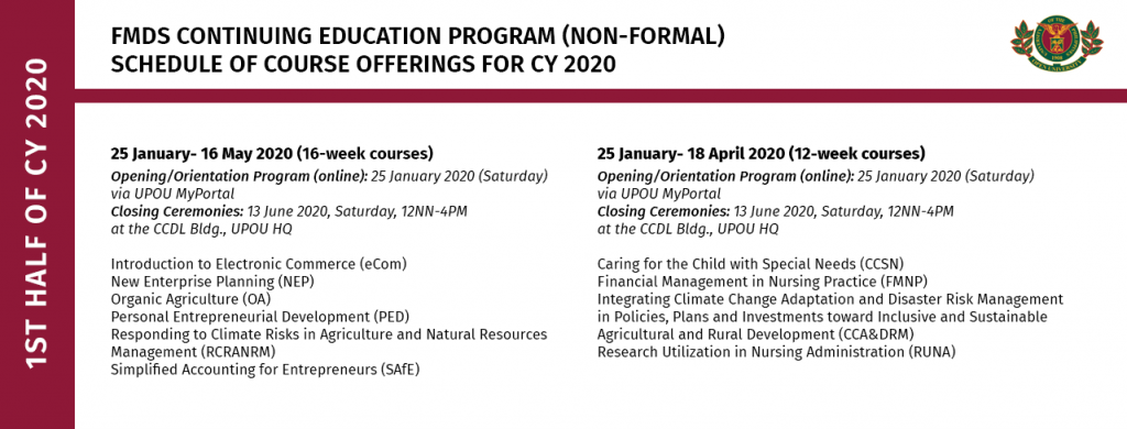 Schedule of Continuing Education Program Offerings for the 1st half of 2020
