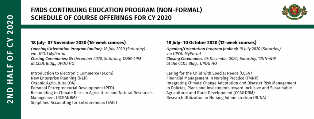 Schedule of Continuing Education Program Offerings for the 2nd half of 2020