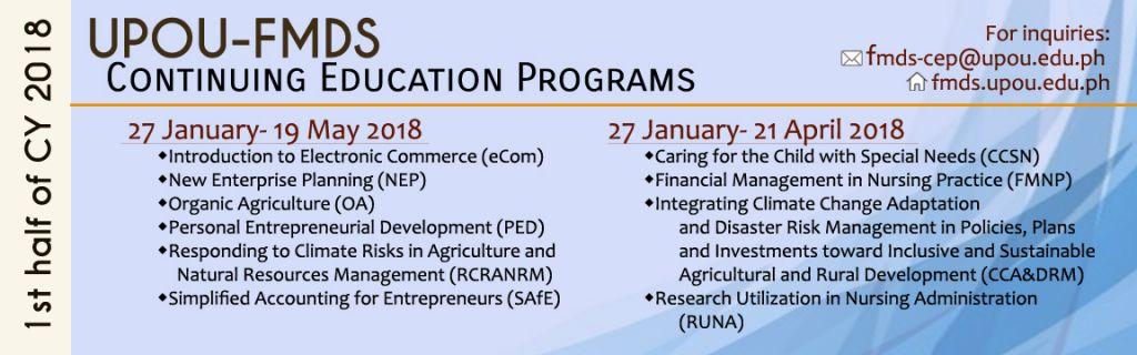 1st Half 2018 CEP Schedule