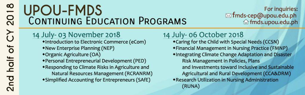 2nd Half 2018 CEP Schedule