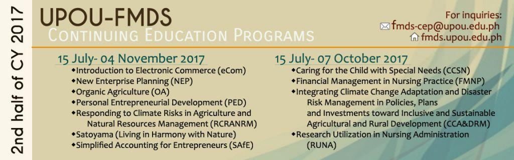 2nd Half 2017 CEP Schedule
