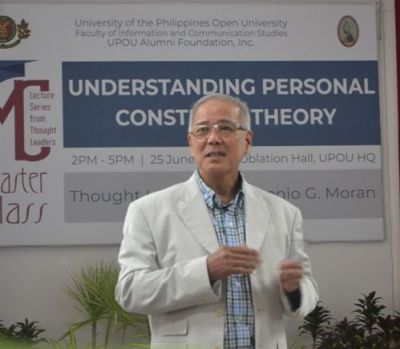 "Dr. Antonio G. Moran, a retired Associate Professor and former Dean from the University of the Philippines Mindanao, served as thought leader for the Special Masterclass featuring the topic ""Understanding Personal Construct Theory."""