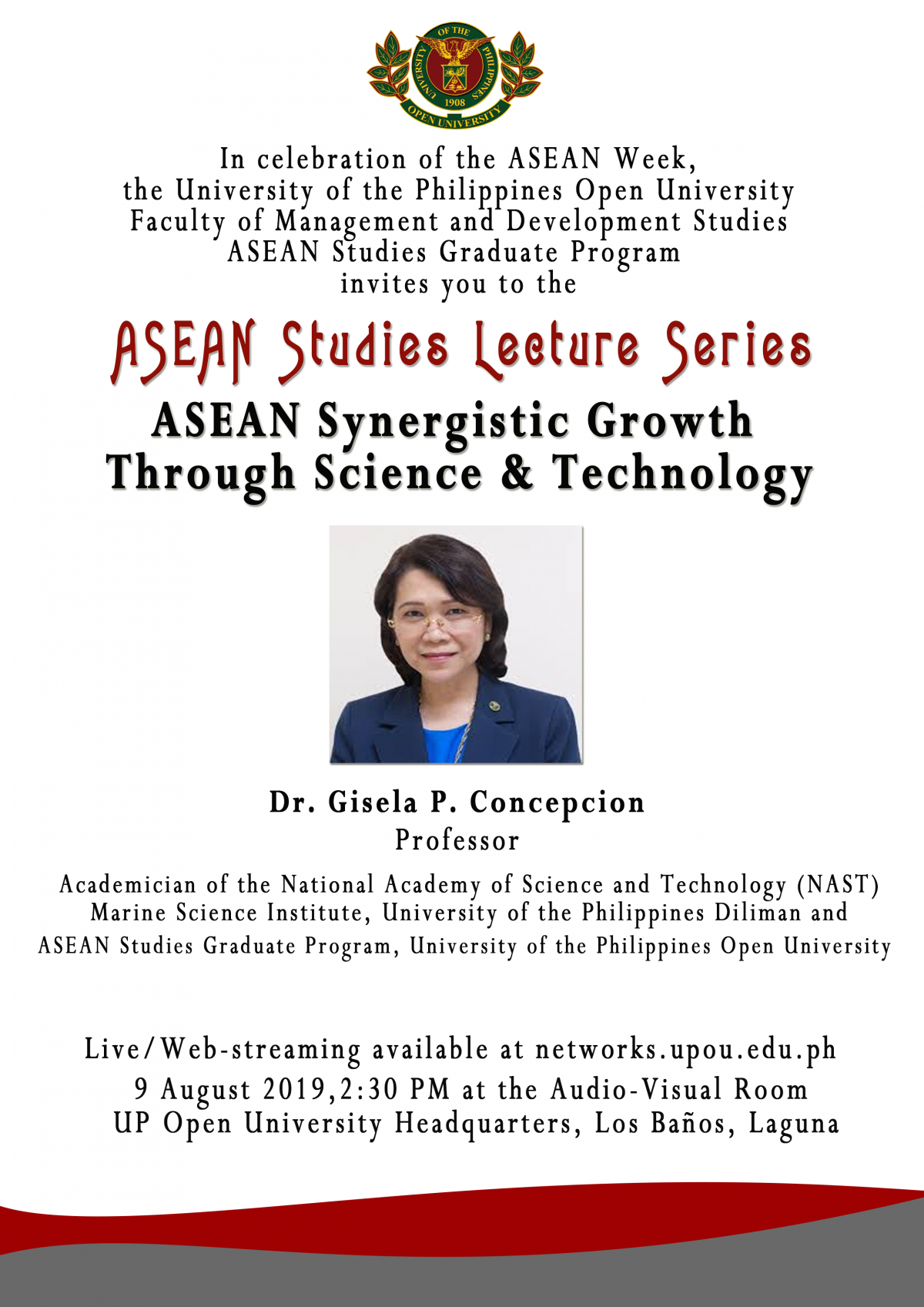 """Dr. Gisela P. Concepcion, Program Faculty of the ASEAN Studies Graduate Program will give a talk on """"ASEAN Synergistic Growth Through Science and Technology."""""""