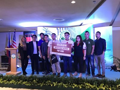 Break the Fake 2nd-Place Winners, Reynier C. Tasico and Andresito M. de Guzman (front center, left to right) with the judges, event organizers and sponsors.