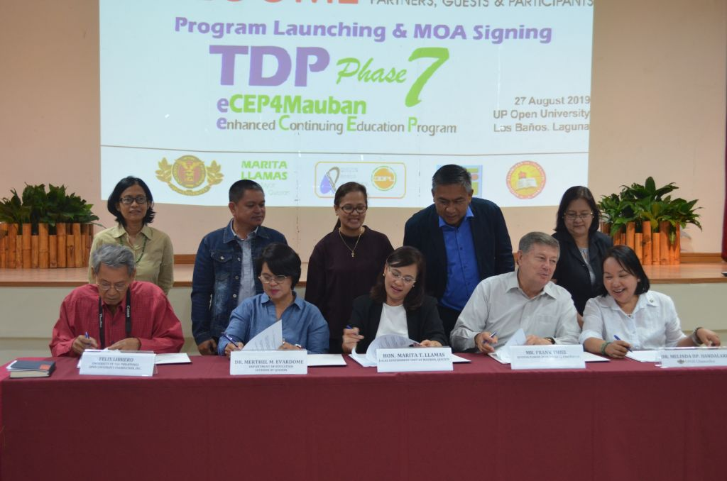 Stakeholders of the Teacher Development Program for Mauban, Quezon signed the Memorandum of Agreement for the implementation of the program's 7th Phase on 27 August 2019 at the UPOU CCDL Auditorium, Los Banos, Laguna.