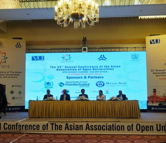 Prof. Masroor Ellahi Babar, Conference Chair; Dr. Nasir Naveed, Conference co-chair, Mr. Naeem Tariq, Rector of VUP, Dr. Khalid Maqbool Saddiqui, Federal Minister for IT and Telecom, and Dr. Melinda dP. Bandalaria, AAOU President and Chancellor of the University of the Philippines Open University (UPOU) during the inaugural ceremony