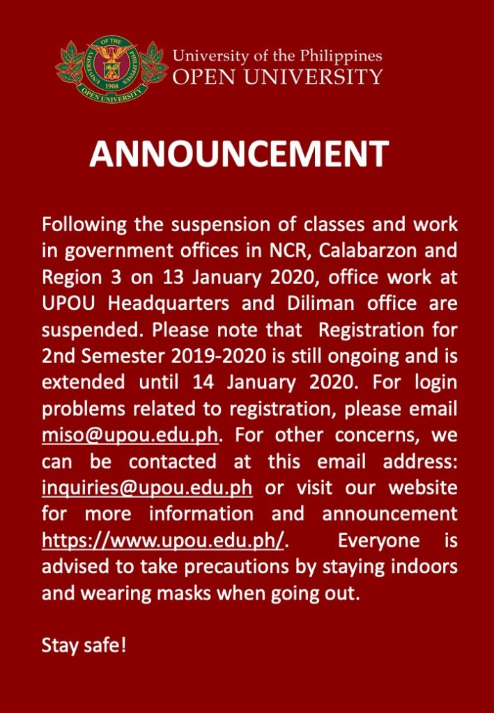 Suspension of Classes and Work on 13 January 2020