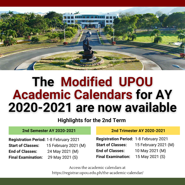 Modified UPOU Semester and Trimester Academic Calendars for AY 2020-2021