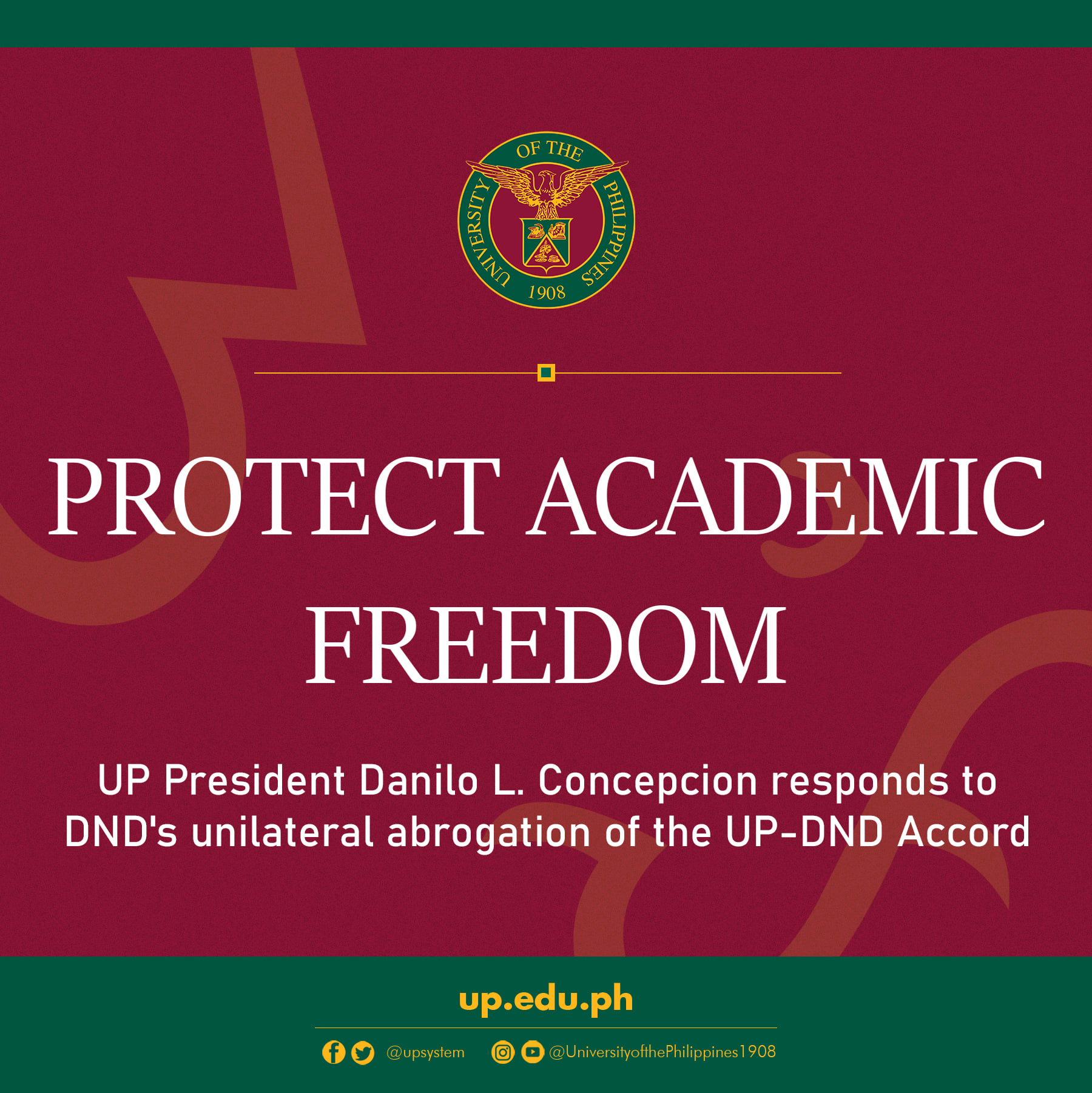 """""""Protect academic freedom""""–UP President Danilo L. Concepcion responds to DND's unilateral abrogation of the UP-DND Accord"""