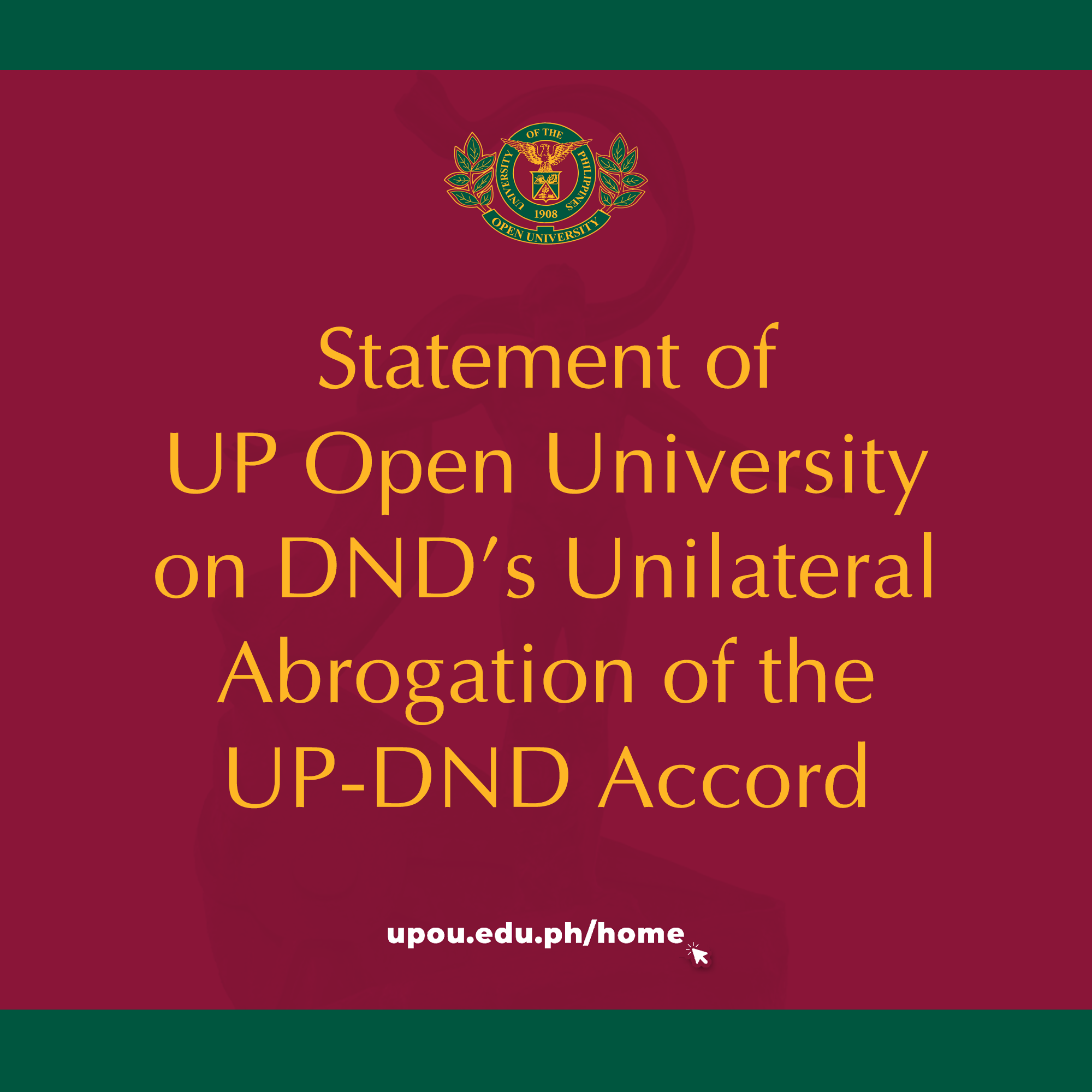 Statement of UPOU on DND's Unilateral Abrogation of the UP-DND Accord