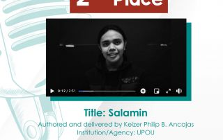 UPOU BAMS Student, Keizer Ancajas, bags 2nd Place in LBSCFI's Spoken Word Poetry Contest. (Photo from Los Baños Science Community Foundation, Inc.)