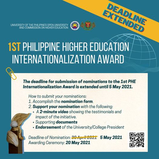 1st Philippine Higher Education Internationalization Award_Extended until 5 May 2021.