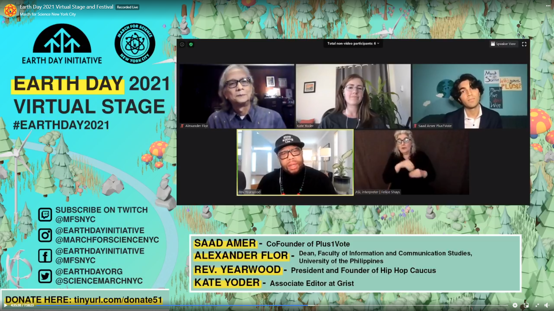 Dr. Alexander G. Flor (Top Left), Dean of the UPOU Faculty of Information and Communication Studies (FICS) and environmental communication expert, represented UPOU at the Earth Day 2021 Virtual Stage.