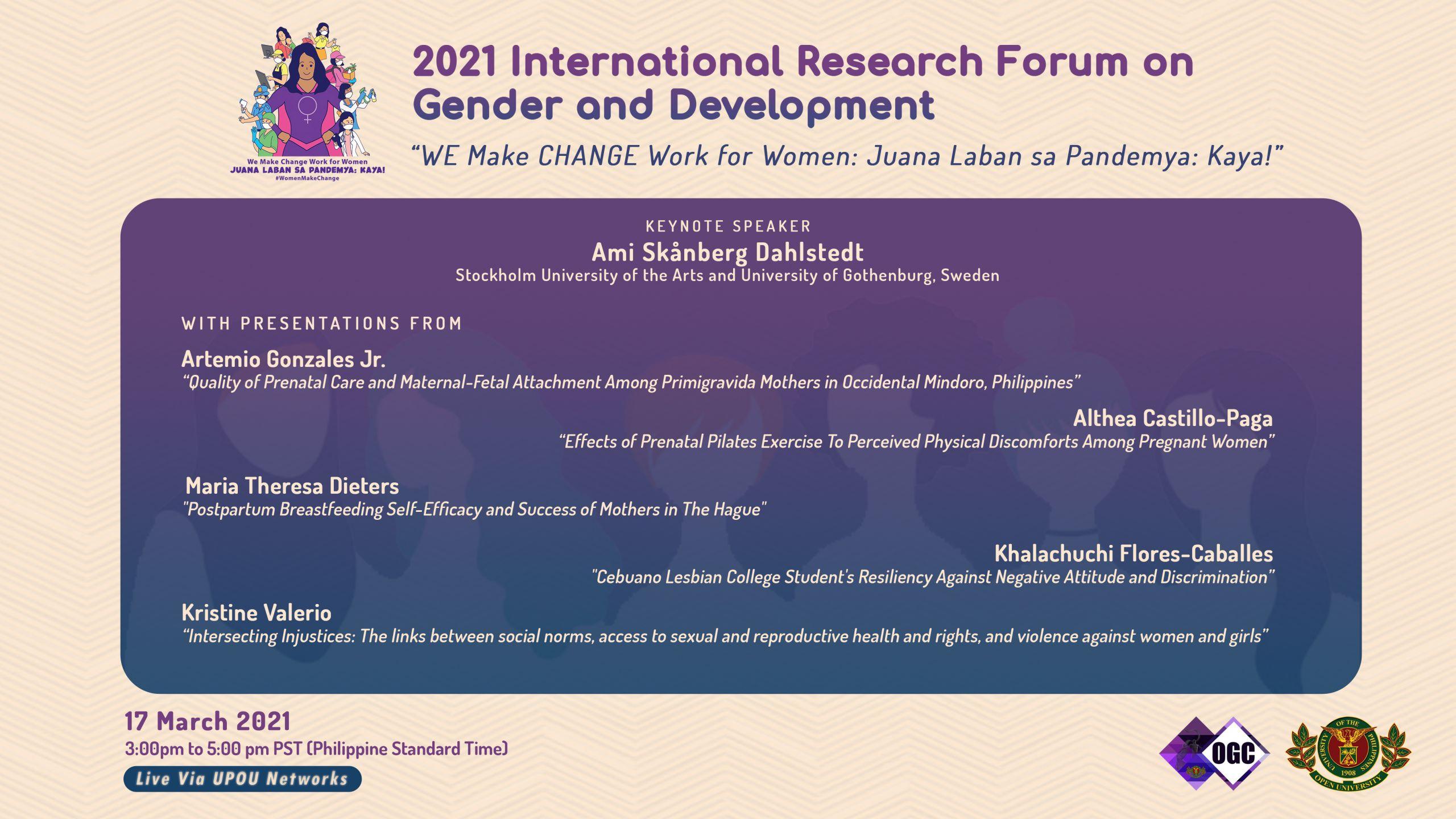 International Research Forum on Gender and Development