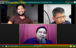 (From Top L): Dr. Diego Maranan, Asst. Prof. Roel Cantada and Asst. Prof. Gian Carlo de Jesus engaged in a lively discussion about gamification as a teaching tool.