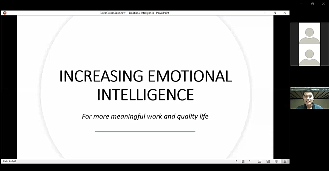 """Mr. Efraime Cruz, FICS project staff and the resource speaker for the 2nd quarterly MeetUPs, talked about the """"Increasing Emotional Intelligence for More Meaningful Work and Quality Life."""""""
