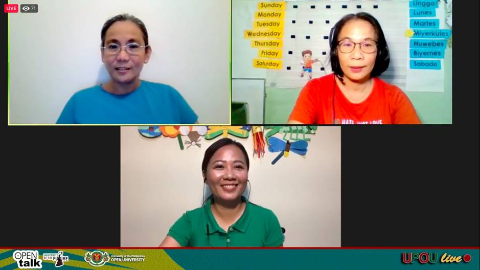[Left to Right] Program moderated by Assoc. Prof. Portia Padilla of UP Diliman College of Education, Ms. Julie Weygan-Aparato, Program Lead and Teacher at Interactive Children's Literacy Program, and Ms. Michelle Agas, who is a Teacher, Storyteller, and Children's Show Host.