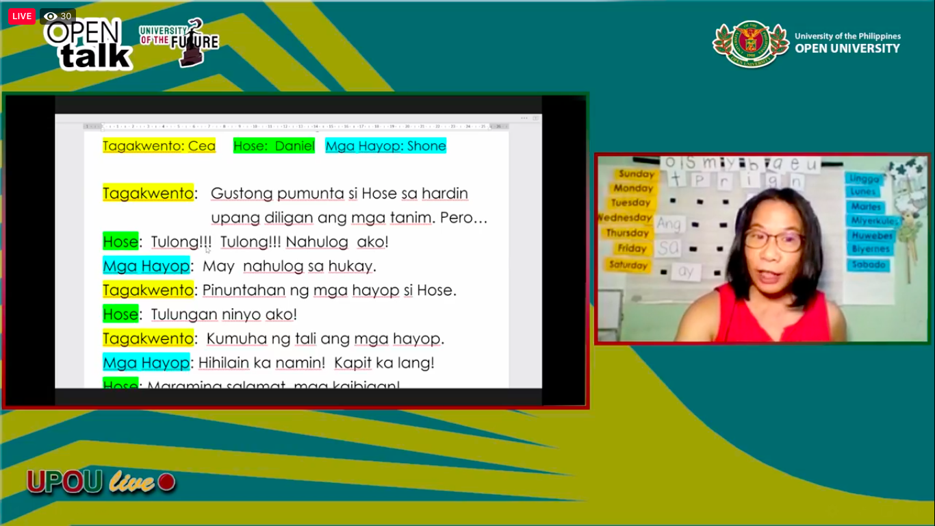 Ms. Julie Weygan-Aparato and her story telling activity