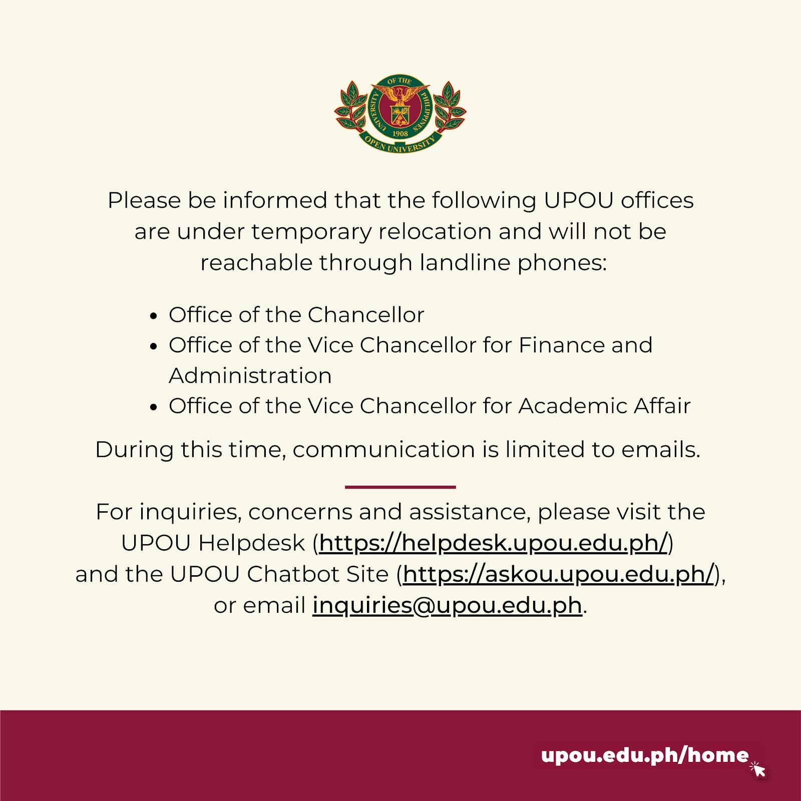 Temporary Relocation of UPOU Offices