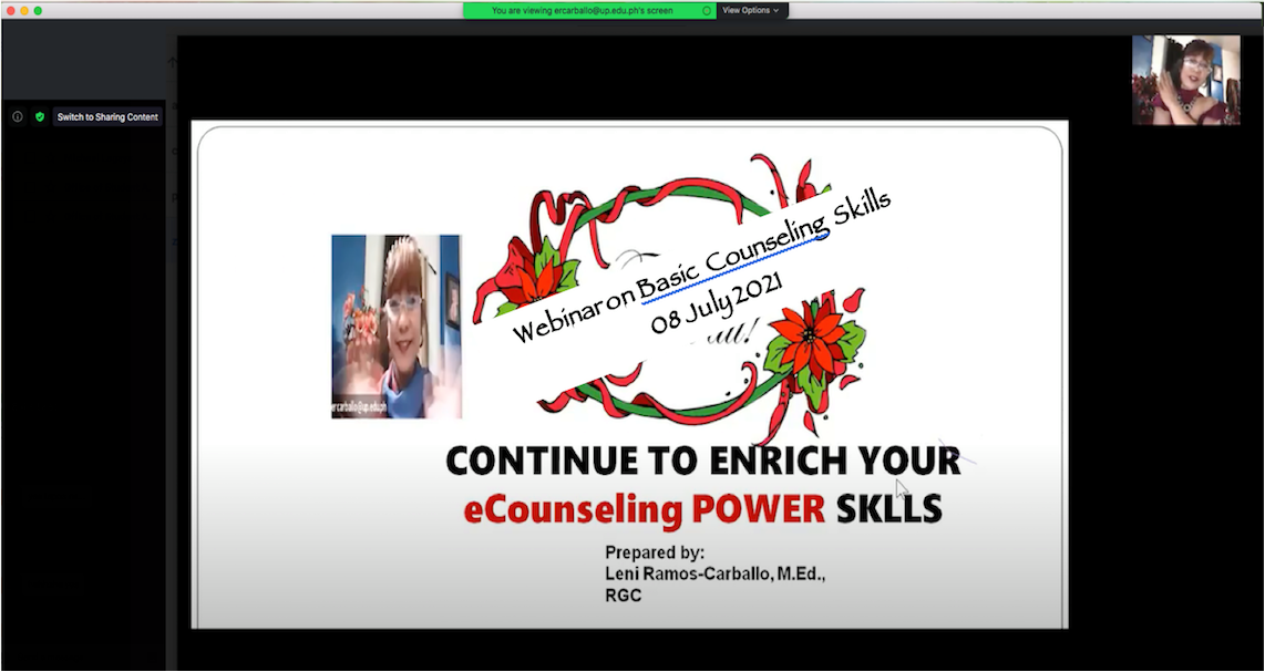 The Webinar on Assessing Student At-Risk (StAR) and Basic Counseling Skills was facilitated by the very able resource person Prof. Eleanor R. Carballo, a Senior Lecturer at the University of the Philippines Manila.
