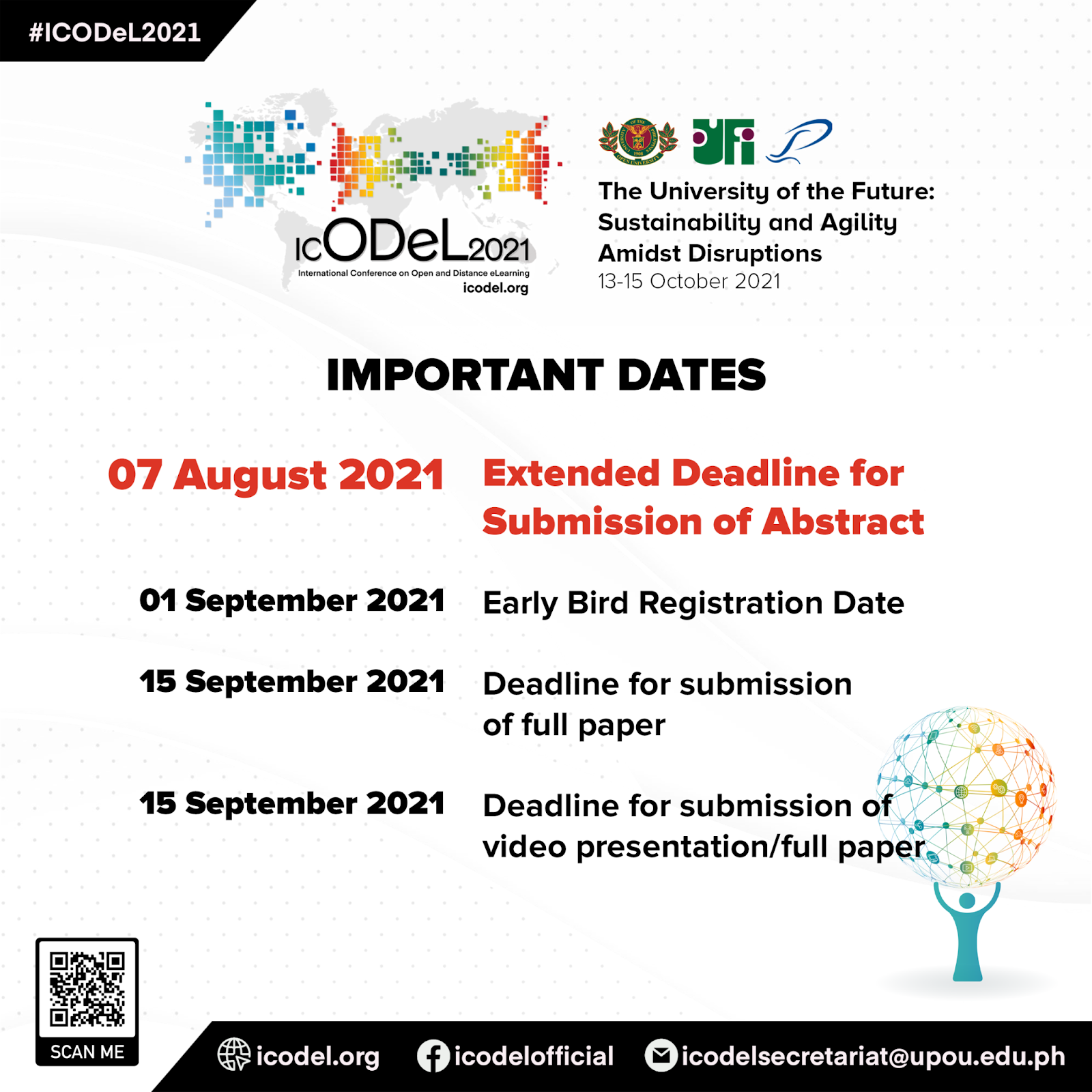 Abstract Submission for ICODeL 2021 is Extended to 7 August 2021