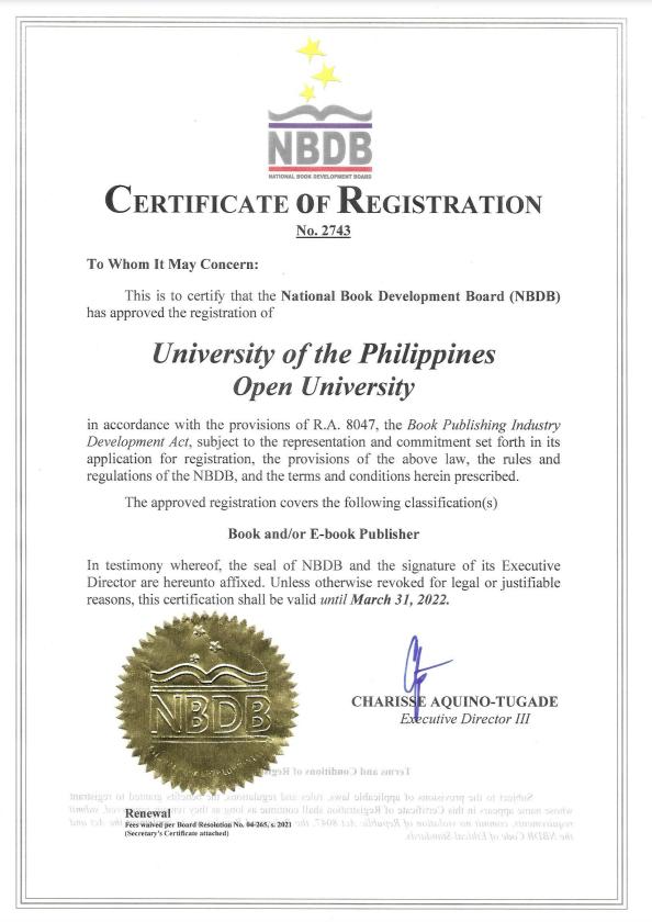 UP Open University renews NBDB Certificate of Registration