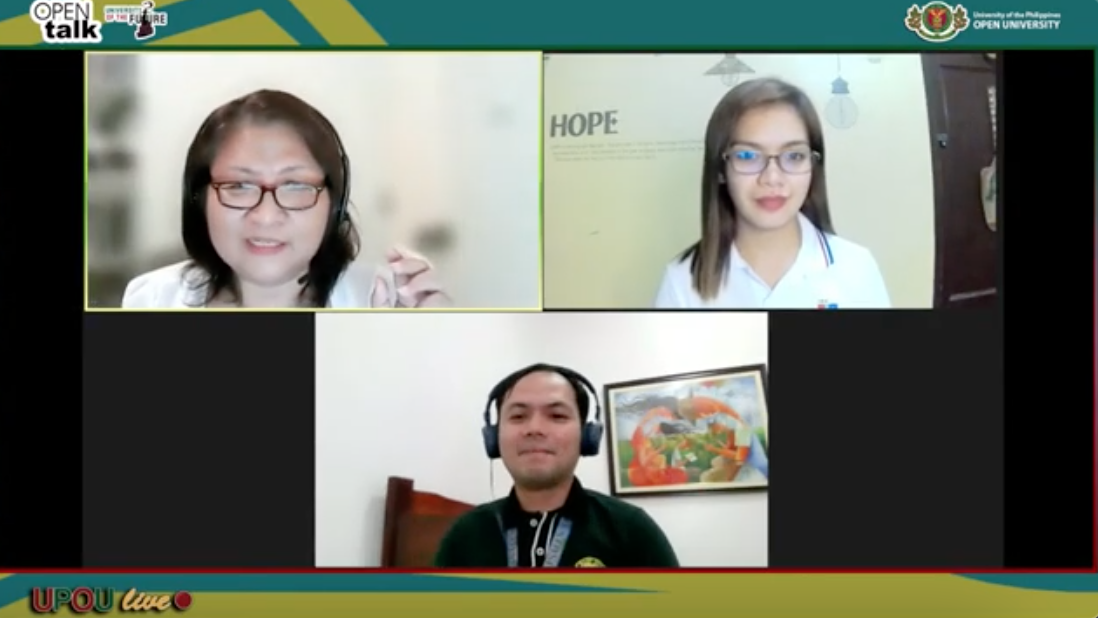 """(From upper left) Dr. Maria Mercedes """"Ched"""" E. Arzadon, Ms. Zarah Kristine A. Flores, and Mr. Rejulios M. Villenes shared ALS experiences, best practices, and insights in Open Talk's Episode 9"""
