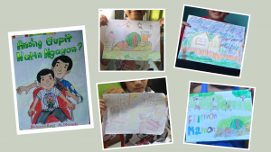 Children draw their favorite scenes from the storybooks
