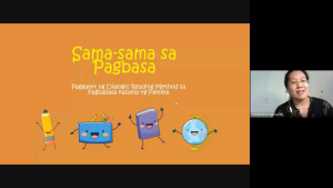 Ms. Genevieve Aguinaldo, Ugnayan ng Pahinungod UPOU volunteer and project proponent, orient the participants of the Sama-Sama sa Pagbasa program