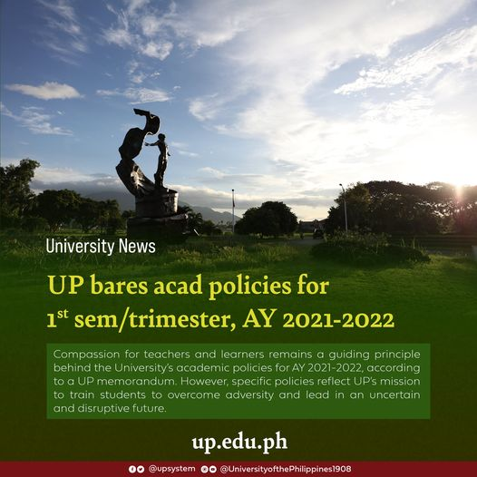 UP bares acad policies for 1st sem/trimester, AY 2021-2022