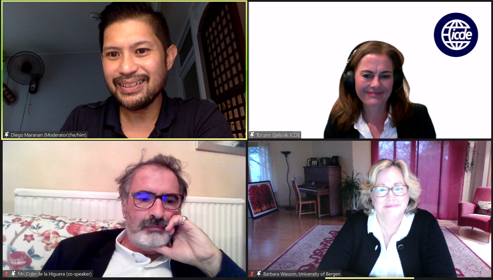 Prof. Dr. Diego Maranan moderates the Q&A forum on Artificial Intelligence - Challenges and Future Directions in Open, Distance, and Online Learning (Clockwise from Top-Left: Prof. Dr. Diego Maranan, Ms. Torunn Gjelsvik, Mr. Colin de la Higuera, and Ms. Barbara Wasson)