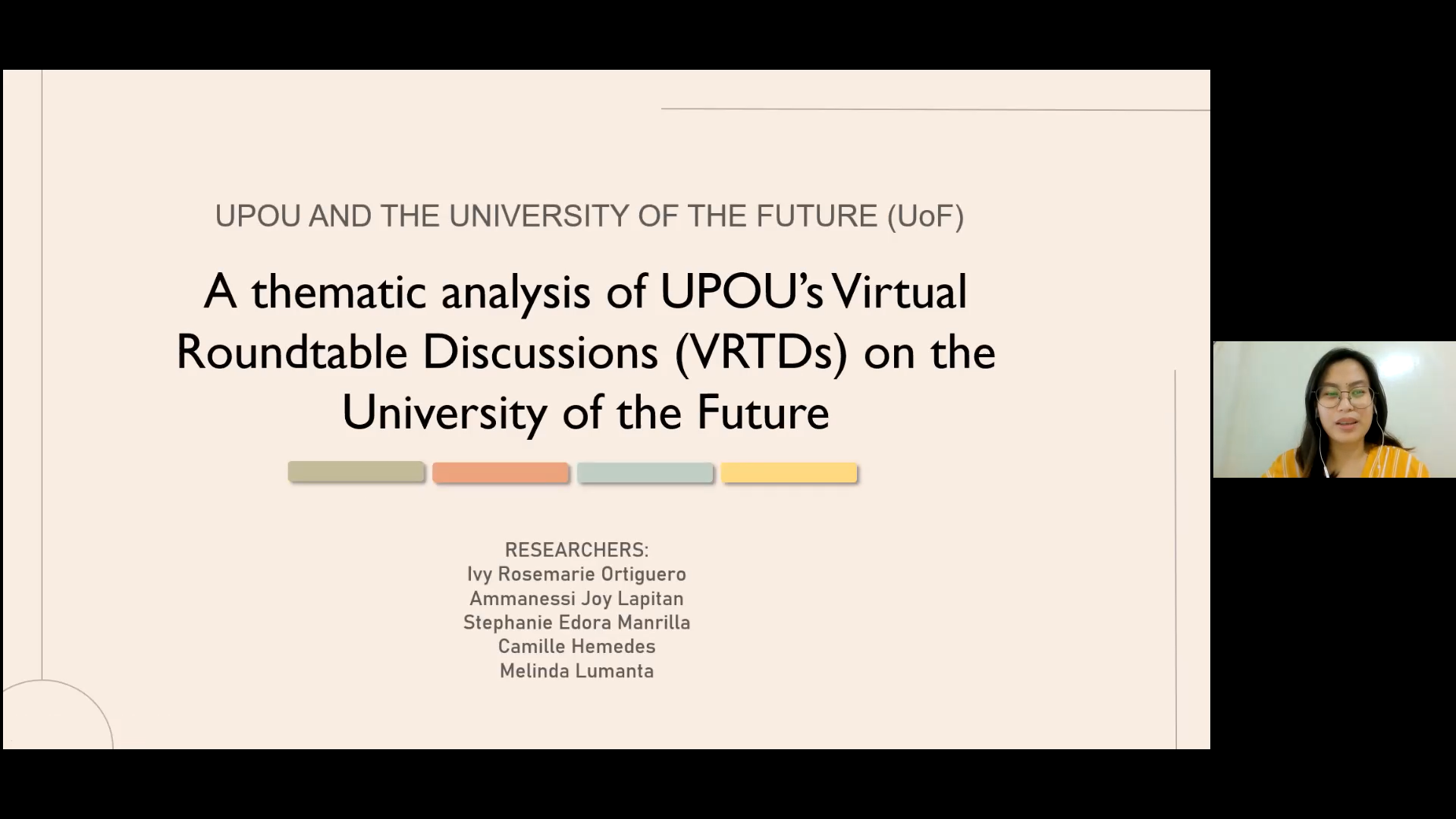 """Ms. Stephanie Manrilla presents """"A thematic analysis of UPOU's Virtual Roundtable Discussions (VRTDs) on the University of the Future"""" in Parallel Session 2A."""